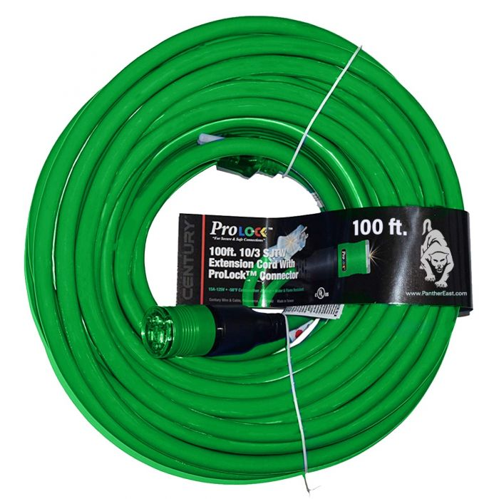 100 ft. Pro Lock Outdoor Extension Power Cords with ground indicator light  at Panther East | Professional Grade Tools, Equipment, Fasteners + Supplies