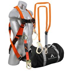 C5013-B2000B WARTHOG FALL PROTECTION KIT, FALL SAFETY HARNESS KITS, ROOFERS FALL PROTECTION COMPLETE KITS, MALTA DYNAMICS WARTHOG PASS THRU SAFETY HARNESS FALL PROTECTION KIT WITH 6' LANYARD