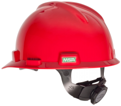 Red V-Gard Slotted Hard Hat w/ Fas-Trac III Suspension