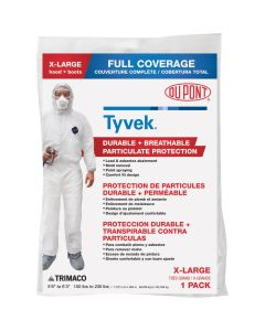 X-LARGE TC-250XL TYVEK TRIMACO DUPONT COVERALL SAFETY SUIT PARTICULATE PROTECTION - FULL BODY PROTECTION WITH HOOD AND BOOTS PPE at Panther East