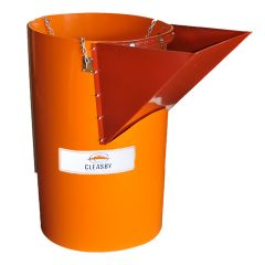 WINDOW ACCESS CHUTE TRASH CHUTE SECTIONS FOR GETTING RID OF TRASH AND DEBRIS ON INSIDE LEVEL FLOORS OF BUILDING DURING DEMOLITION AND TEAR OFF JOBS. CLEASBY C02312